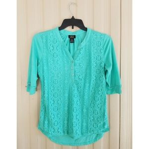 Lace Blouse Top Shirt Tunic 3/4 Sleeve Turquoise